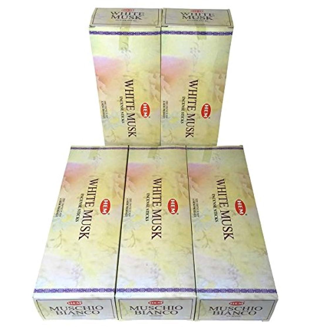 ヨーロッパビジョン買収HEM ホワイトムスク香 スティック 5BOX(30箱)/HEM WHITE MUSK/ インド香 / 送料無料 [並行輸入品]