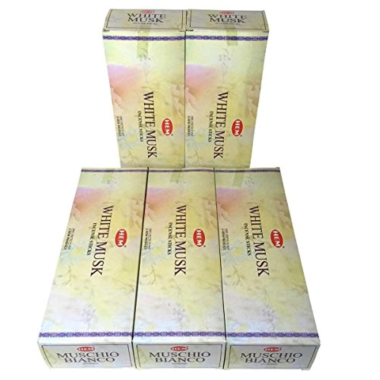 脇に欠点銀HEM ホワイトムスク香 スティック 5BOX(30箱)/HEM WHITE MUSK/ インド香 / 送料無料 [並行輸入品]