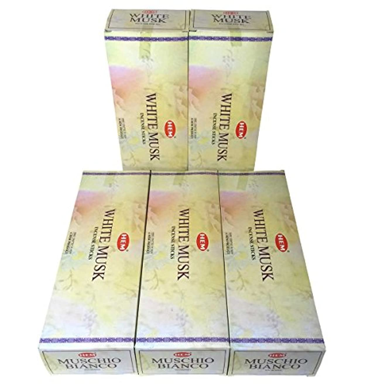 荷物栄光の始めるHEM ホワイトムスク香 スティック 5BOX(30箱)/HEM WHITE MUSK/ インド香 / 送料無料 [並行輸入品]