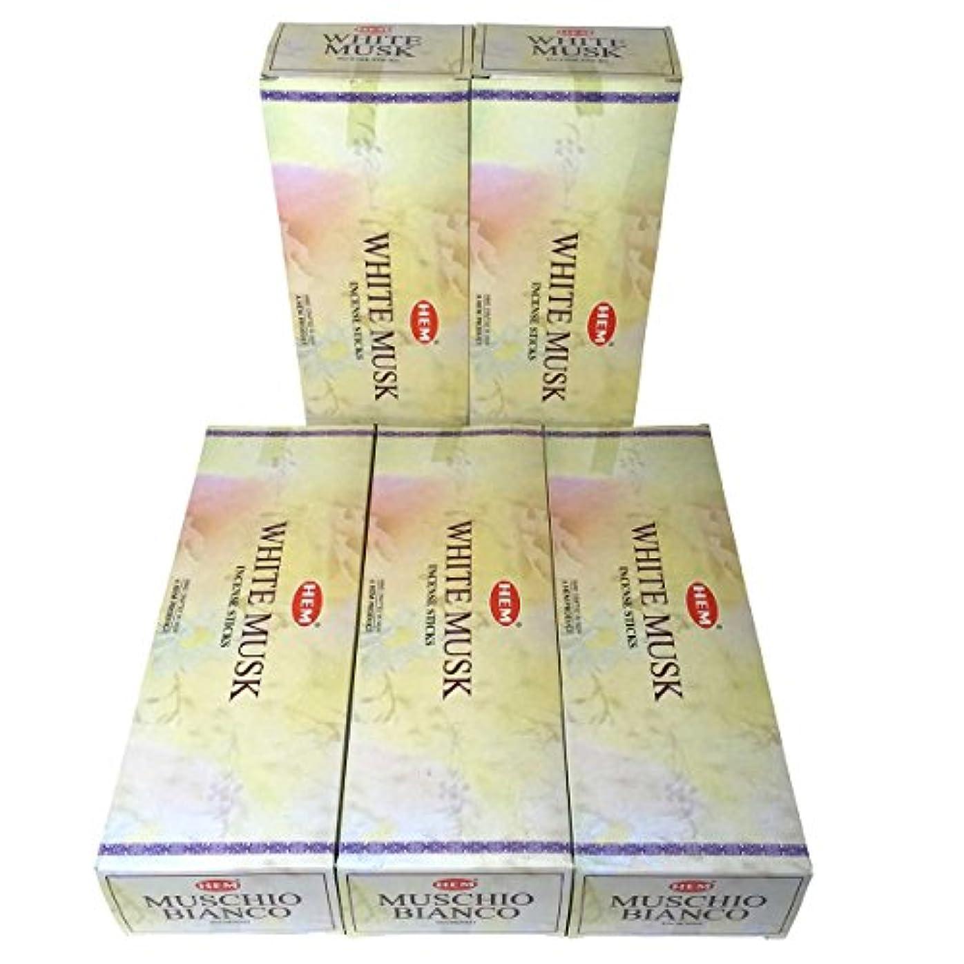 断言する意志降雨HEM ホワイトムスク香 スティック 5BOX(30箱)/HEM WHITE MUSK/ インド香 / 送料無料 [並行輸入品]
