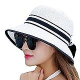 (ノーブランド品) 夏 帽子 麦わら 麦わら帽子 ハット レディース リボン 紫外線対策 リボンハット 紫外線