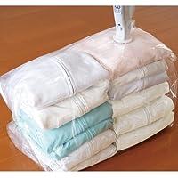 【衣類圧縮袋 掃除機不要 電動ポンプ】Q-PON フラットバルブ衣類圧縮袋マチ付 & 防ダニシート1枚付(B524-SET)