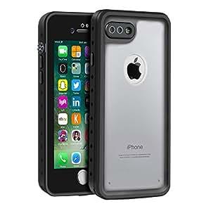 Eonfine iPhone 7 Plus ケース 5.5 インチ 用 防水ケース 透明ケース 音質クリア アイフォン7 Plus ケース 防水 防塵 防雪 耐衝撃 落下防止 IP68 指紋認証対応 クリア フルプロテクションカバー スマホケース スマートフォンケース(クリア)