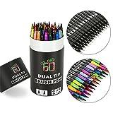 Mocent 水彩ペン アートマーカー サインペン 筆ペンカラー ペンの両方対応 細字と太字 塗り絵 絵画学習事務用 大量60色セット入り