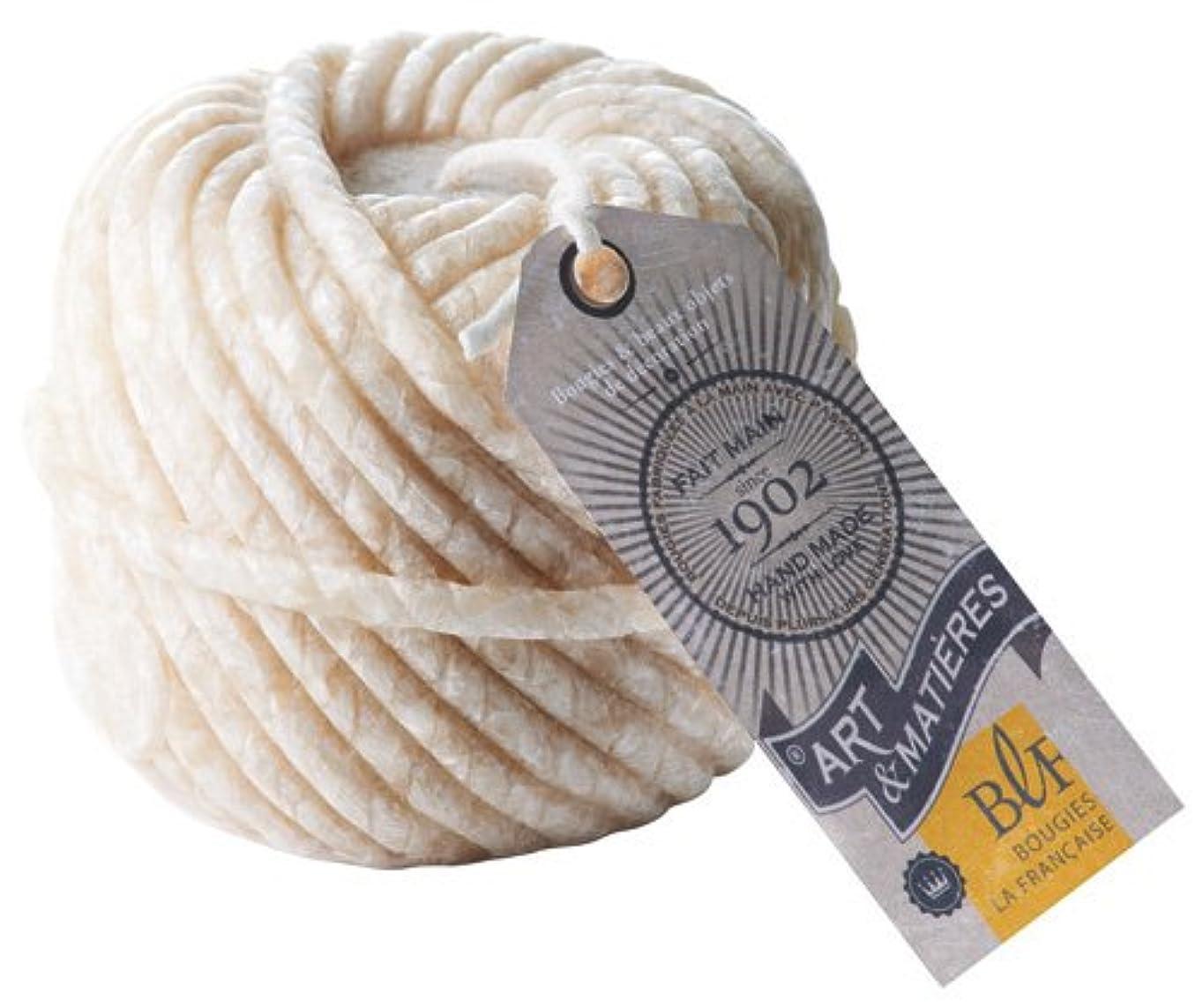成熟取るに足らないチャーターブジ?ラ?フランセーズ 本物の毛糸玉のような ウールボールキャンドル ホワイト