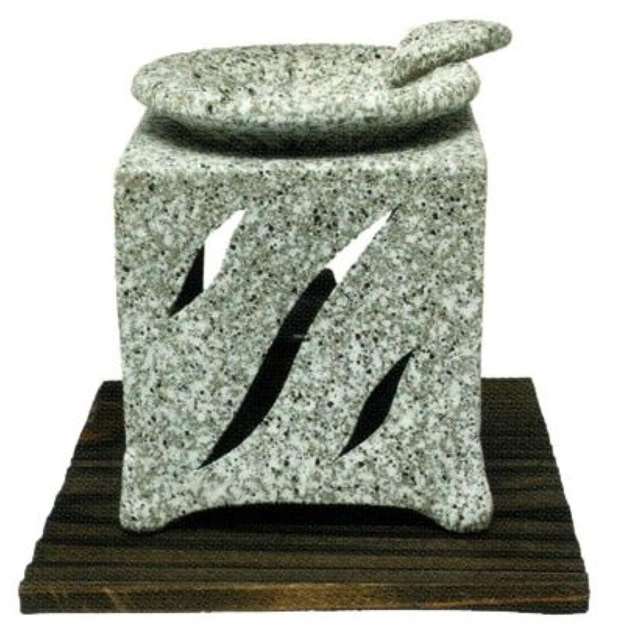 とらえどころのない課税たるみ常滑焼?山房窯 カ40-06 茶香炉 杉板付 約10.5×10.5×12.5cm