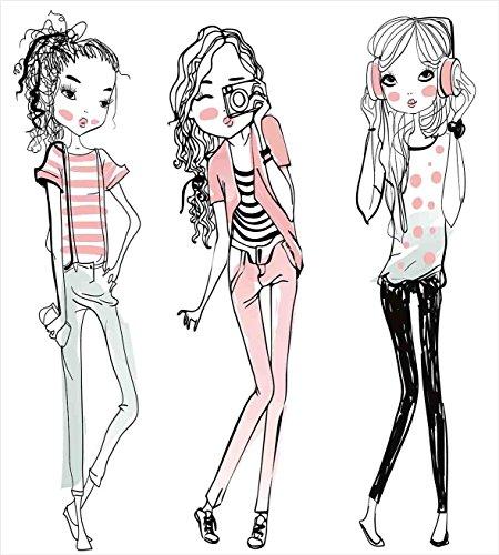 ファッション家の装飾布団カバーセットby Ambesonne、スケッチのかわいい漫画の女の子がエレガントなメイクアップ服図イメージ、装飾寝具セットwithピロー、ピンク キング nev_21053_king
