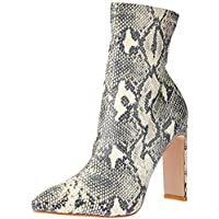 BILLINI Women's Eleni High Heel Boot, Cream/Grey Snake, 7 AU