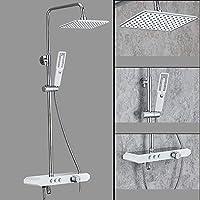 壁掛けシャワーシステム、2モードハンドシャワー付き、降雨量シャワーヘッド、節水型現代真鍮ボディクロームレインシャワーセット,B