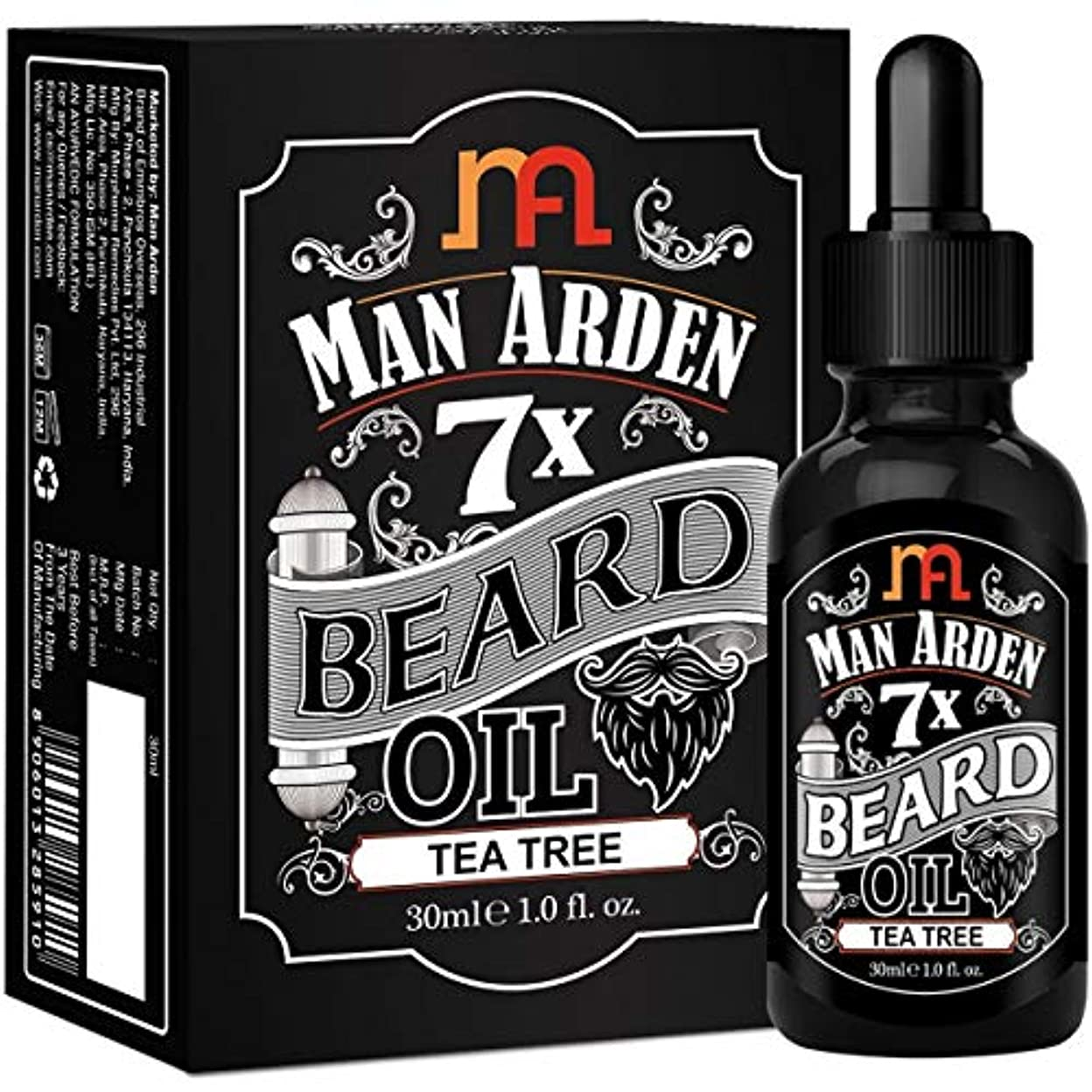 アミューズレッスンドットMan Arden 7X Beard Oil 30ml (Tea Tree) - 7 Premium Oils Blend For Beard Growth & Nourishment