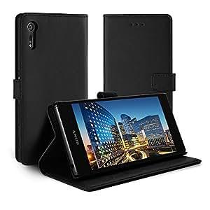 Sony Xperia XZ / XZsケース, Simpeak PU レザーケース 手帳型 二つ折り横置きスタンド機能付き カード収納 マグネット開閉式スマホケース 黒色 SO-01J / SOV34 / 601SO / F8332 対応