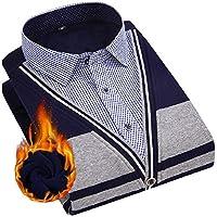 sayahe メンズ厚くんのシャツプルオーバー暖かいターンダウンカラー偽2つのTシャツ AS4 3XL