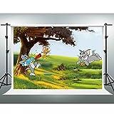 Gesen Cartoonバックドロップ10?x 7ftトムとジェリーユーモラスな子のアニメ映画写真の子誕生日パーティーベビーシャワーの背景の背景写真ブース小道具Studio lfge005