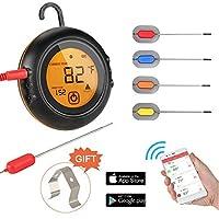 焼き肉用の初期の鳥フライBluetooth肉温度計、4プローブ付きワイヤレスリモート温度計デジタルクッキング温度計、バーベキュー喫煙オーブンキッチン用アラームモニター、サポートIOS、Android