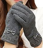 (ミラ ボルサ) MILA BORSA 手袋 レディース 防寒 スマホ対応 あったか素材 裏起毛 カシミア タッチパネル対応 グローブ スマホ手袋 (Aタイプ-グレー)