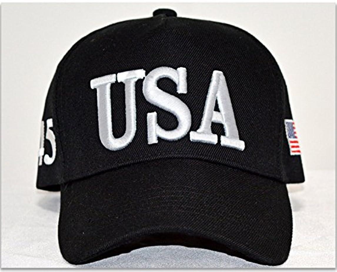 あいまいバラ色船IVYRISEファッション3d刺繍帽子USAキャップ数45アメリカフラグトランプアメリカを再びGreat調整可能コットン帽子、ブラック
