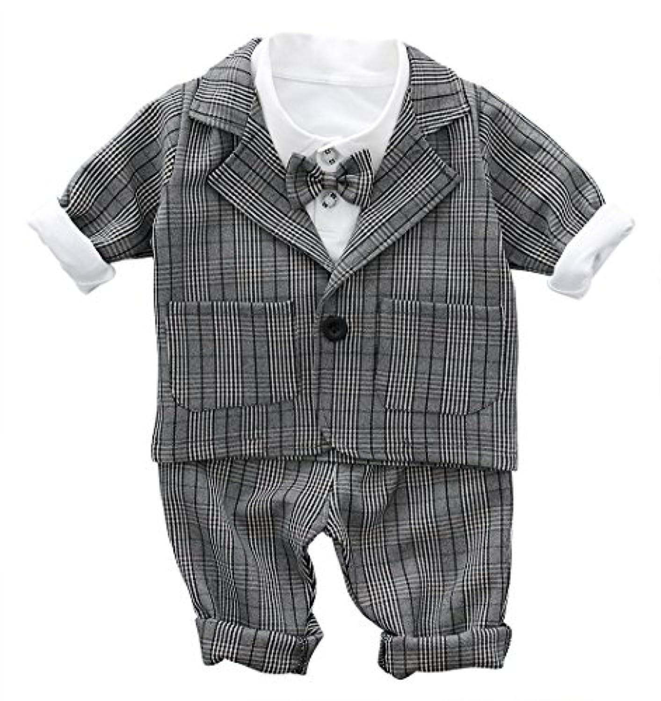 Cloudkids ベビー キッズ フォーマル スーツ 長袖 シャツ ジャケット ズボン 3点セット 子供服 赤ちゃん 男の子 洋服 紳士服 結婚式 入園式 グレー チェック柄 90cm