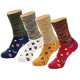 (フセル) HSELL 靴下 ソックス レディース ゆったり靴下 かわいいソックス 冬秋 厚手ソックス 防寒対策 (4足組)