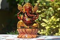 Wooden Ganesha Sculpture - Hand Carved Hand Painted hinDu Elephanr Lord Statue CraftVatika by CraftVatika [並行輸入品]
