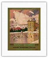 フォンロム - Odeillo, ピレネーオリエンタル, 南フランス - 経路ミディアイアン鉄道 - ウィンタースポーツ - ビンテージな世界旅行のポスター によって作成された トニー・ジョージ・ルー c.1923 - キャンバスアート - 28cm x 36cm キャンバスアート(ロール)
