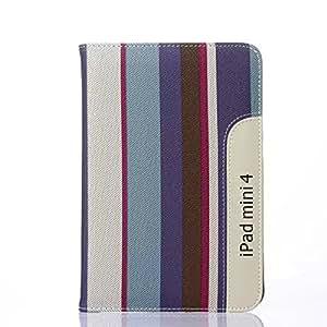 2015年度新型モデルiPad mini4 ケース 横縞柄 レインボー 横開きタイプ スマートカバー 手帳型 カードホルダー スタンド機能付き iPad Mini 第四世代 対応 液晶保護フィルム タッチペン プレゼント (A)