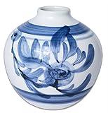 砥部焼 花瓶 勝山窯 丸輪立 菊 約φ10.5×10.5cm