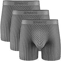 Separatec Men's Underwear Stylish Striped Pattern Smooth Cotton Boxer Briefs 3 Pack