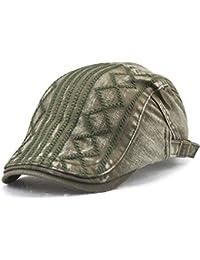 CATYAA 男性と女性のキャップツイルダイヤモンド型刺繍ライントレンドアウトドアカジュアルハット (Color : Military green, サイズ : 56-60cm)