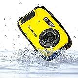 PowerLead 2.7インチ液晶カメラ16MPデジタルカメラ水中10m防水カメラ+ 8倍ズーム (黄)