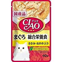 CIAO(チャオ) パウチ 総合栄養食 まぐろ ささみ・おかか入り 40g×16袋【まとめ買い】