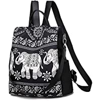 Fashion Back Bag Waterproof Backpack for Women Travel Bag for Ladies Large Capacity Ethnic Style (Color : Elephant)