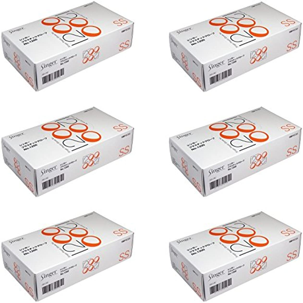 件名ゴシップアルミニウム【まとめ買い】シンガー プラスチックグローブ №1200 SSサイズ 100枚入【×6個】
