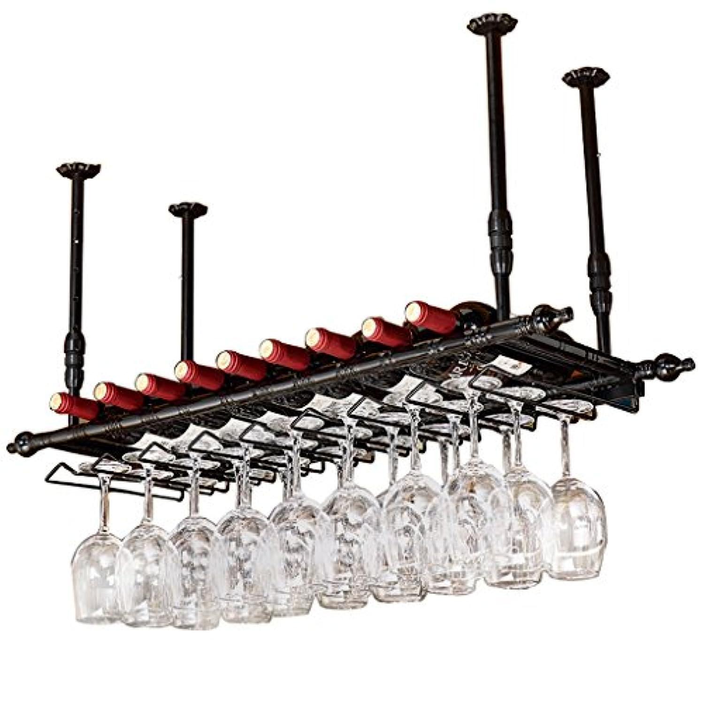 YD-Wine rack アイアンブラック/ブロンズヨーロッパクリエイティブハンギングガラスホルダー寸法:60/80/100/120X30cm # (サイズ さいず : 80 * 30cm)