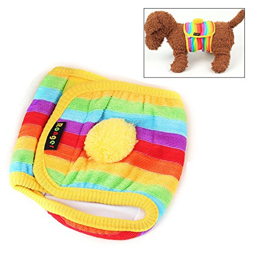 犬用 マナーベルト 生理パンツ 犬用 ドッグウェア マーキング対策 尿もれ オシッコ対策 ずれない 洗濯OK 室内 調節可能 通気性良い 室内 おでかけ ドライブ 雌、雄犬用-虹-M