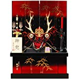 五月人形 兜 収納飾り 真田幸村 金竹 メタリックマルーンボカシ塗 幅45cm [sb-16-138]