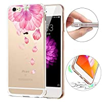 iPhone 6 Plusのクリエイティブケース、SevenPanda透明なスーパーソフトスリムTPUの背面カバー保護ケースiPhone 6S Plus / 6 PlusのためのTPUゲルバンパーケースシリコン保護ケースカバー - ピンクの花