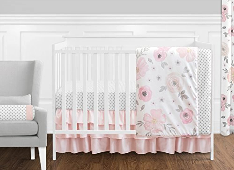 Sweet Jojo Designs 11-Piece Blush Pink Grey and White Watercolor Floral Baby Girl Crib Bedding Set without Bumper Rose Flower Polka Dot [並行輸入品]
