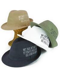 ノーブランド品 アーミーサイドプリントリネンMIX中折 ヤング帽子