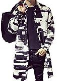 GuDeKeメンズ  ウィンドブレーカー コート ロングジャケット 格子柄 モノトーン 斑模様 襟付き POLO襟 ハーフコート ブルゾン アウター ジャンパー シングルブレスト カジュアルジャケット 長袖 薄手 (2XL)