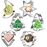 Zanmini Cookie Cutter Set Stainless Steel Basic Shape Baking Cookie Cutters for Dough, Fondant, Donut and Muffins (Set of 6) for Christmas