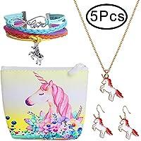 Hicdaw 5PCS Girls  Unicorn Include Bracelet Stud Earrings Storage Bag Necklace for Unicorn