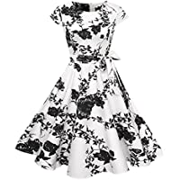 レディース フォーマル ワンピース ドレス YOKINO スウィングのレトロなパーティードレス ビンテージクラシックスタイルのカクテル 結婚式 発表会 お呼ばれ 大きいサイズ対応 (L, ホワイト)