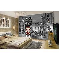 Mingld 最新の3 D壁画、夜にヨーロッパの都市の黒と白の通り、リビングルームテレビソファ寝室背景壁紙-200X140Cm