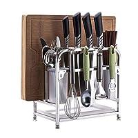 FANGFA キッチンシェルフステンレス製カッティングボードラック箸ナイフスプーン収納ラック4個のフック付き