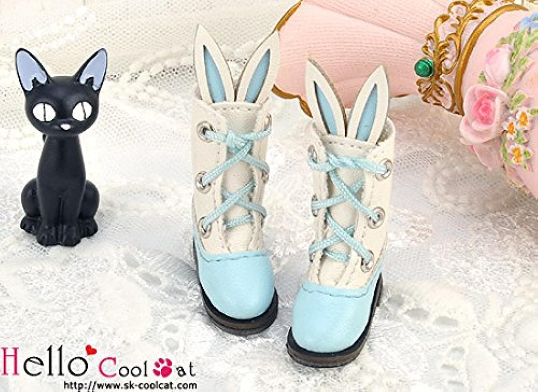 ドール用 coolcat かわいいうさ耳付ブーツ スカイブルー24-6