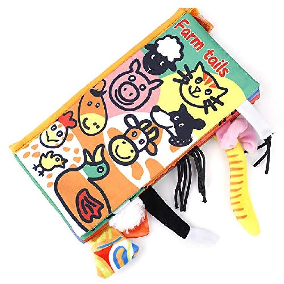 掃除縮約入手しますベビー布本 ベビー用ブック 英語学習ブック 幼児図書 教育玩具 動物尾 子供 布製 無毒 耐久性 早期教育(02)