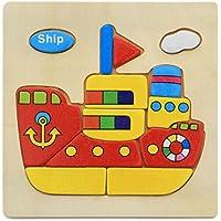 HuaQingPiJu-JP ブランドの新しい木製の教育的なパズルアーリーラーニング番号の形の色の動物のおもちゃ子供のための素晴らしいギフト(船)