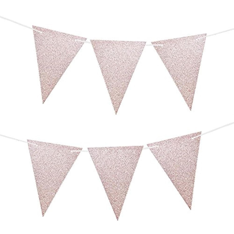 フラッグガーランド バナー パーティー 飾り 三角 ローズゴルード 三角旗 2枚セット