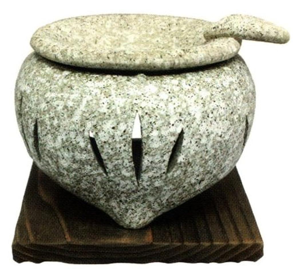 欠かせない座標ハウジング常滑焼?山房窯 カ39-03 茶香炉 石風 杉板付 約φ11.5×9.5cm