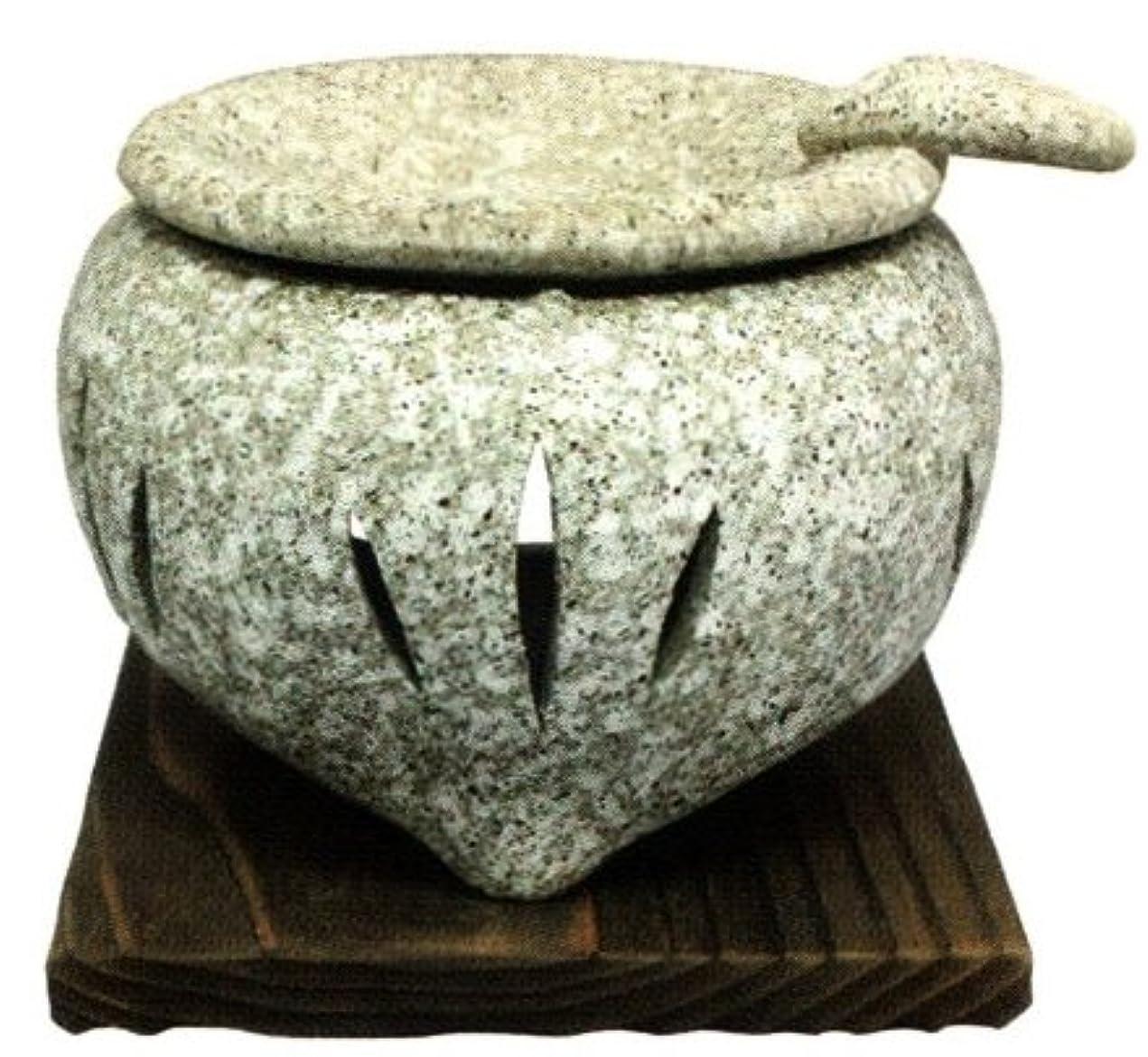 について複雑でない実行常滑焼?山房窯 カ39-03 茶香炉 石風 杉板付 約φ11.5×9.5cm